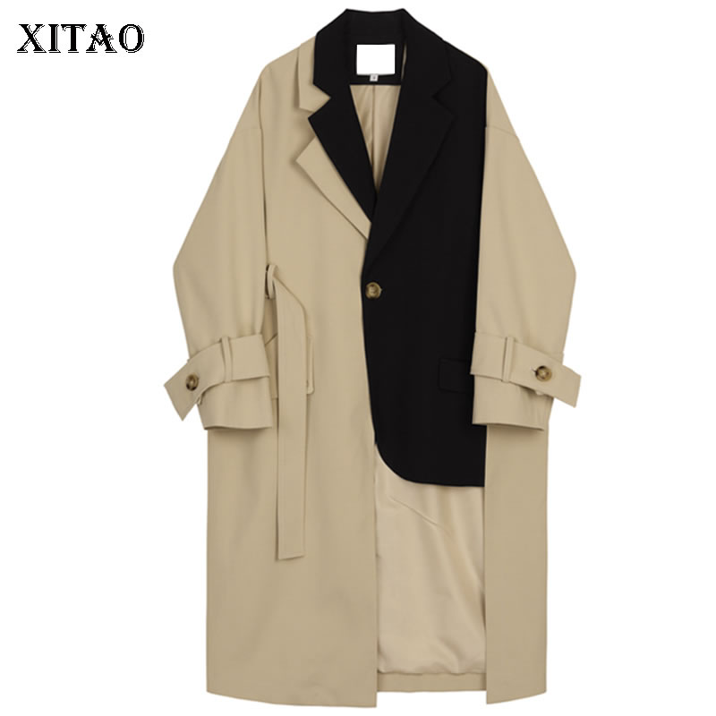 XITAO Patchwork Hit Color Long   Trench   Women Irregular Pocket Sashes Match All Coat Top Turn Down Collar Single Breasted WQR1267