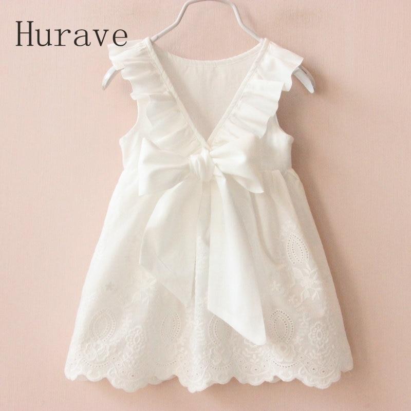 Hurave Girl Dresses Solid White Girl Dresses 2017 Summer Style Children's Clothing Dresses For Girl Vestido Infant Girl Clothes