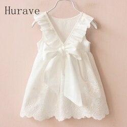 Hurave فتاة فساتين الصلبة الأبيض فتاة فساتين 2019 الصيف نمط ملابس الأطفال فساتين لفتاة Vestido الرضع فتاة الملابس