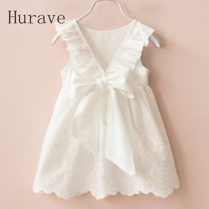 Hurave Girl Dresses Solid White Girl Dresses 2018 Summer Style Children's Clothing Dresses For Girl Vestido Infant Girl Clothes