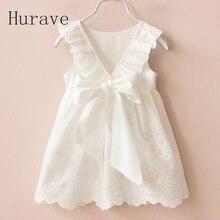 Hurave Girl Dresses Solid White Girl Dresses 2019 Summer Style Children's Clothing Dresses For Girl Vestido Infant Girl Clothes