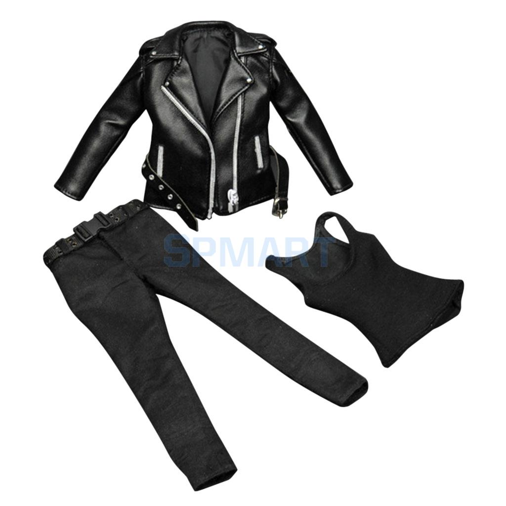 "1//6 Female Hood PU Leather Windbreaker Clothes Accessories for 12/"" Doll Body"