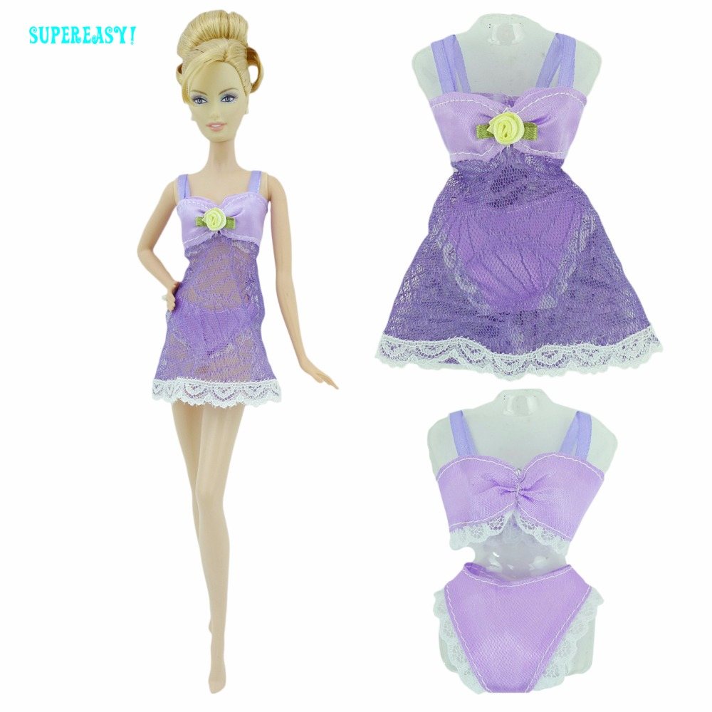 Free Shipping  Purple Sexy Pajamas Lingerie Nightwear Lace Night Dress + Bra + Underwear Clothes For Barbie Doll Skirt Clothes