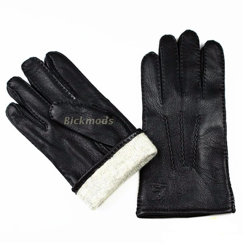 Image 2 - Guantes Winter Gloves Leather Gloves Men All Handmade Deerskin Lining Stripes Style Soft Delicate Price Concessions Direct-in Men's Gloves from Apparel Accessories on AliExpress