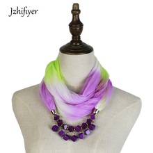 Jzhifiyer scarf two-tone color scarf jewelry necklace feminino invern fashion ring shawl hijab bandana fashion beauty neck scarf цены