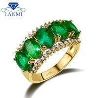 Винтажные 18Kt желтое золото овальный Природный зеленый изумруд кольцо Довольно diamond ювелирных камней для матери подарок на день рождения