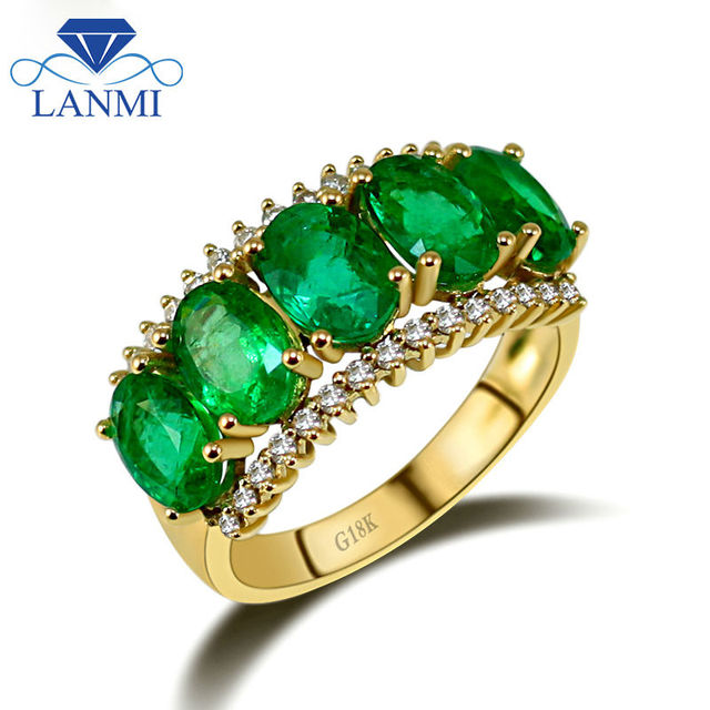 930ba4c8ba216 US $1459.0 |Vintage Solid 18Kt Yellow Gold Oval Natural Green Emerald Ring  Pretty Diamond Gemstone Jewelry for Mother Birthday Gift-in Rings from ...