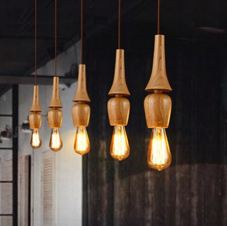 Wooden American Country Nordic Modern Edison Pendant Lights Fixtures For Dining Room Bar Hanging Lamp Suspension Luminaire long shape american country design wooden philippine dining table set