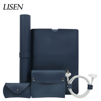 5 in 1 Luxury Leather Sleeve Laptop Bag For Macbook Pro Retina 11 12 New 13 15 Notebook Case For Xiaomi Air 12.5 13.3 15.6 Cover