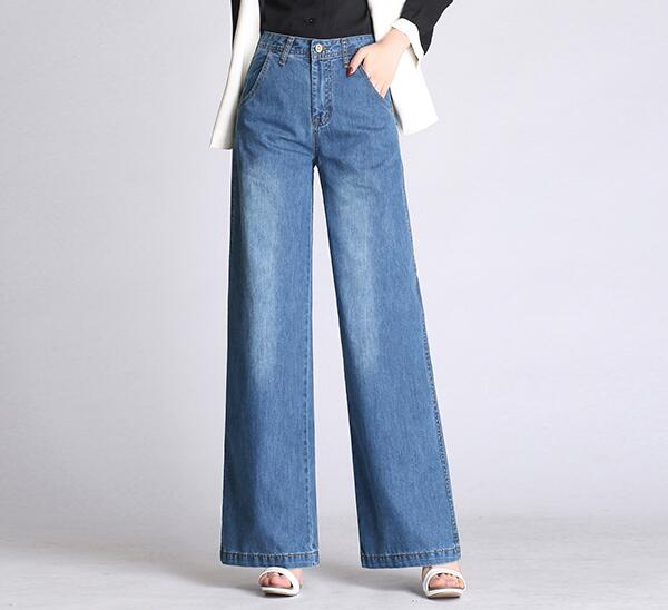 Wide leg pants for women plus size blue cotton blend denim jeans casual new fashion loose capris female autumn spring als0802 1