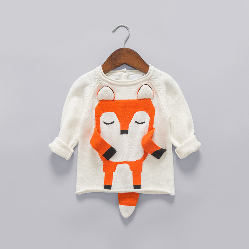 Autumn Girls Boys Kids Baby Infants Long Sleeve Cartoon Fox Outwear Pullover Knitwear Knitting O-neck Sweater Camisola MT1424