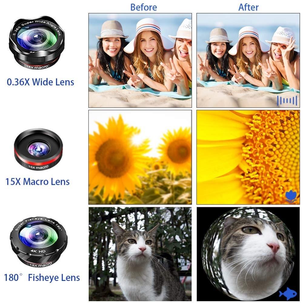 Kit de lente de Zoom de teléfono: lente teleobjetivo de alta definición 15X + gran angular y ojo de pez y lente Macro (2 lentes) para iPhone S amsung Android - 3