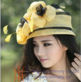 Free Shipping Fashion and New Elegant Ladies' Yellow Dome Sinamay Hat With Feathers Women's Spring And Summer Sun Beach Hat