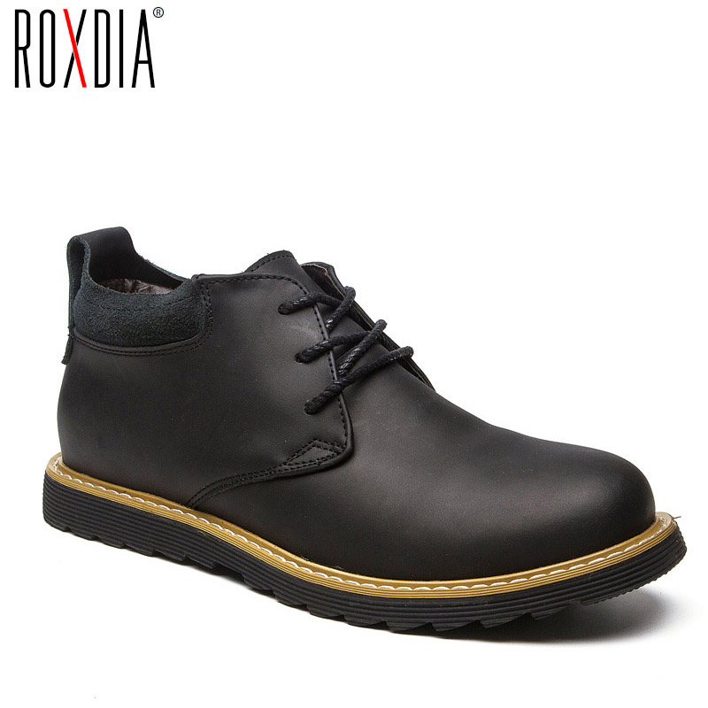 ROXDIA Fashion Leather Autumn Men Boots Snow Winter Warm Mens Ankle Boot Waterproof For Male Shoes 39-44 RXM058