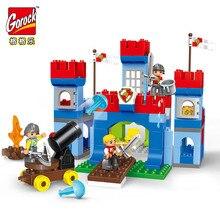 GOROCK 138pcs Big Blocks Castle Large Particles War Building Blocks Bricks Educational Baby City Toys Compatible With Duploe цены онлайн
