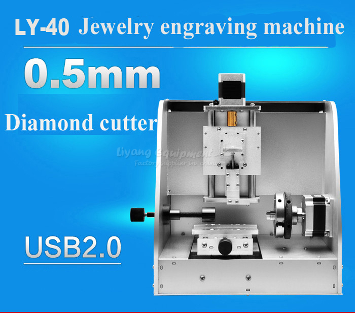 Russia tax free LY-40 photo cnc router  jewelry ring inner engraving machine usb connection russia free tax cnc engraving machine 8060z usb 3axis cnc router pcb stone cutting machine