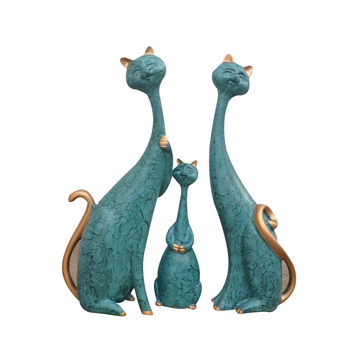 Modern-style Family Of Three Cats Ceramic Home Decor Figurines Hand-made crafts DIY Office Study Ornaments Business Decor Gifts