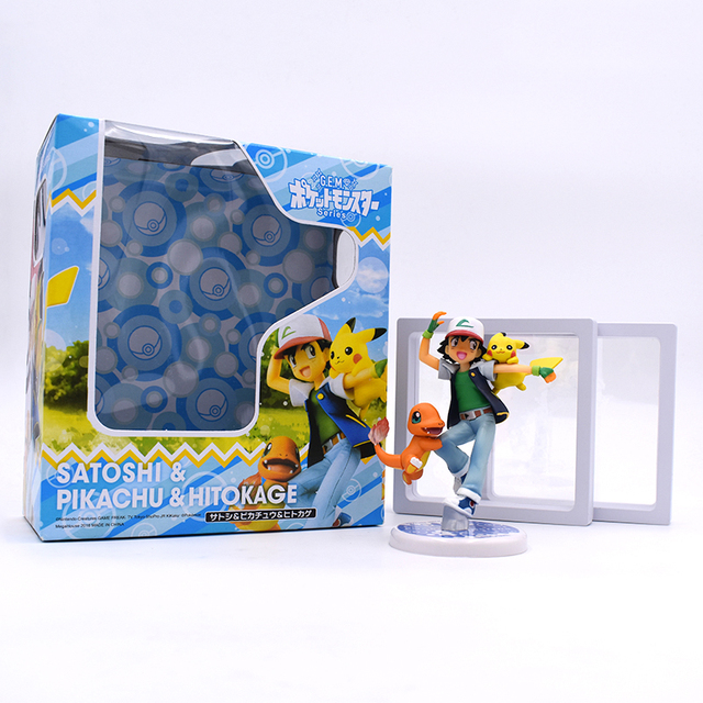 Anime Ash Ketchum Pikachu PVC Action Figure Collectible Model Toy 10cm Baby Toys Free Shipping
