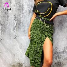 Green Leopard Irregular Skirt Streetwear Women Clothes 2019 Vintage Print Long Skirts Side Split Autumn Midi