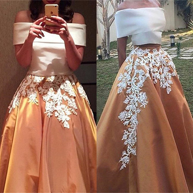 a3d142318d0 Two Pieces White Skirt With Orange Stain Long Prom Dresses Elegant Boat Neck  Appliques Lace Cheap A-Line Evening Party Gowns