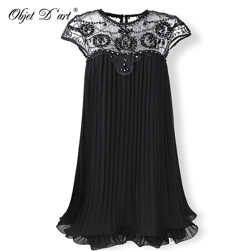 2018 Beige Party Dresses Embroidery Lace Pleated Women Dress Sweet Mini Short Chiffon Dress Gift Female