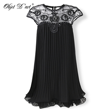 2018 Beige Party Dresses Embroidery Lace Pleated Women Dress Sweet Mini Short Chiffon Dress Gift Female Vestidos for Wedding