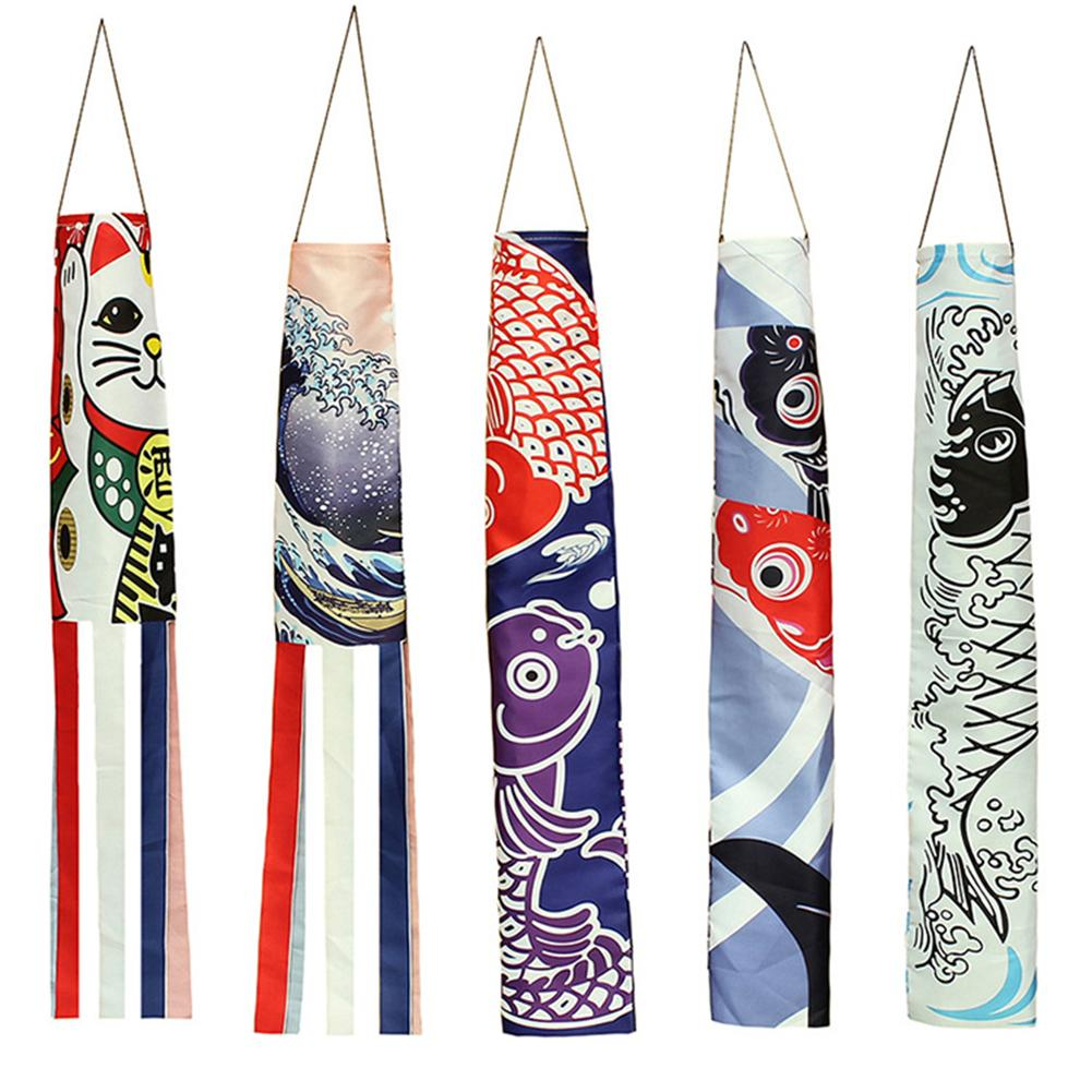 Hot 70cm Japanese Carp Spray Windsock Streamer Fish Flag Koinobori Kite Cartoon Fish Colorful Windsock Carp Wind Sock Flag 140cm