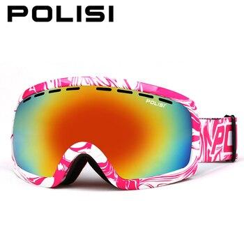 POLISI Winter Ski Protective Eyewear UV400 Skiing Snowboard Skate Glasses Double Layer Anti-Fog Lens Snowmobile Snow Goggles