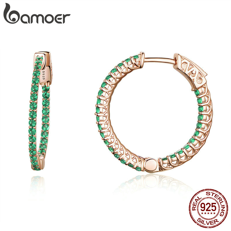 BAMOER Genuine 925 Sterling Silver Classic Round Circle Green CZ Stud Earrings for Women Wedding Engagement Jewelry SCE511BAMOER Genuine 925 Sterling Silver Classic Round Circle Green CZ Stud Earrings for Women Wedding Engagement Jewelry SCE511