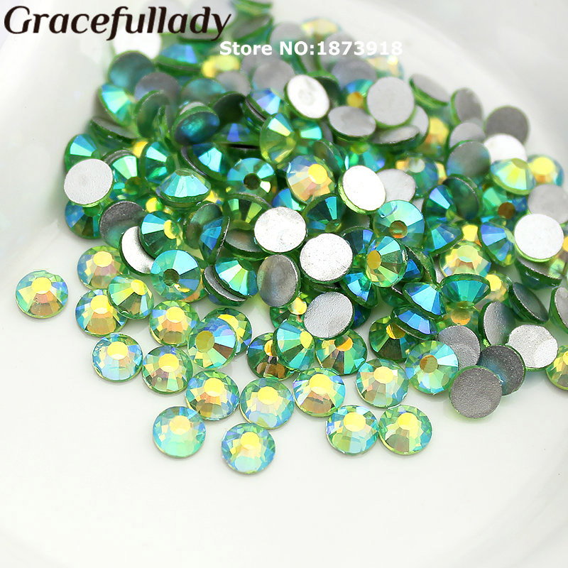 Light Green AB SS3-SS20 Nail Art Crystals Non Hot Fix Rhinestone Flatback Loose Stone For DIY Nails Decoration