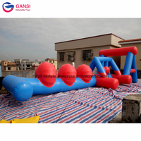 Big jump balls inflatable wipeout sport game,10m inflatable water wipeout obstacle course for pool
