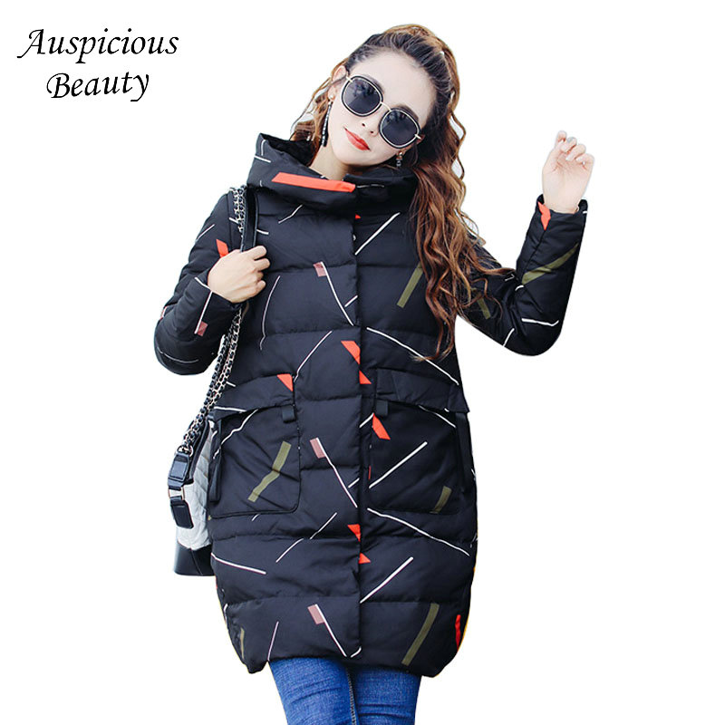 2017 New Winter Coats Women Winter Jackets Large Striped Hooded Female Long Slim Cotton Padded Parkas Female Outwear CXM166 2017 new hooded women winter coats female winter down jackets cotton padded parkas autumn outwear abrigos mujer invierno y1488