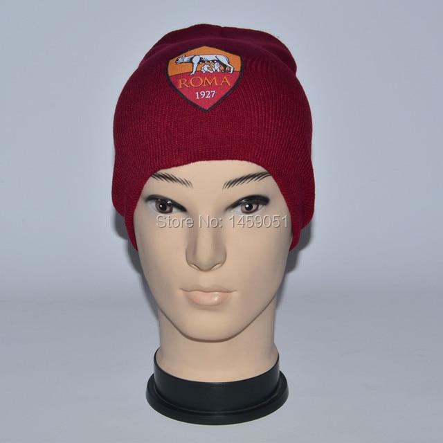e79bcbb33fcbf0 unisex men and woman leisure sport acrylic knitted football soccer club AS  roma winter beanie hats