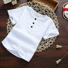 Linen 2018 Cotton Baby Boy Girl Summer Autumn T Shirts Toddler Comfortable Top Tee Children Clothing Kids Button 80-130cm Height