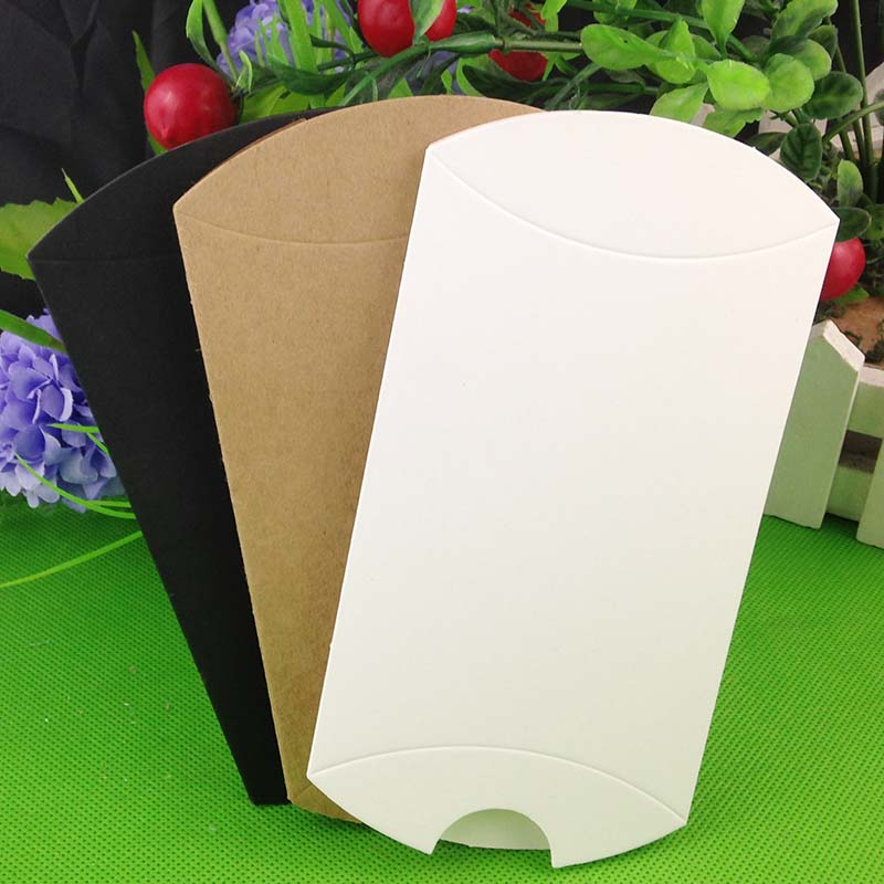 100pcs 2018  Lot Kraft/black/white Pillow Shape Wedding Favor Gift Box Party Candy Box Wholesales Pillow Boxes Hot Sale In 2018