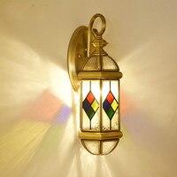 Novos coloridos de vidro Tiffany Vitral abajur sconce da lâmpada de parede ao ar livre jardim iluminação E27 portão de Cobre luz de parede Arandela|Luminárias de parede|   -