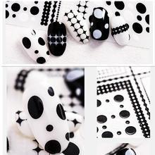 3d nail decals Newest WG-06 09 black dots design sticker Japan style rhinestones DIY decoration tools