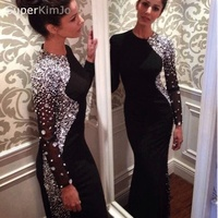 SuperKimJo Black Evening Dresses 2019 Long Sleeve Mermaid Beaded Elegant Formal Party Dresses Evening Gown