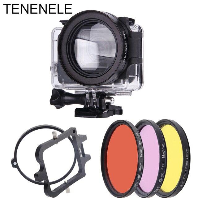 กล้องกีฬา 58 มิลลิเมตรสีแดง/สีเหลือง/Magenta Filter มาโครเลนส์สำหรับ GoPro Hero 6/5 สีดำใต้น้ำดำน้ำอุปกรณ์เสริม