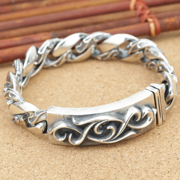 S925 silver jewelry manufacturers personality group Thai silver retro Mens ancient pattern djlsddinkz Silver Bracelet wholesale silver jewelry manufacturers s925 mens fashion silver silver bracelet handmade coarse twist 7m