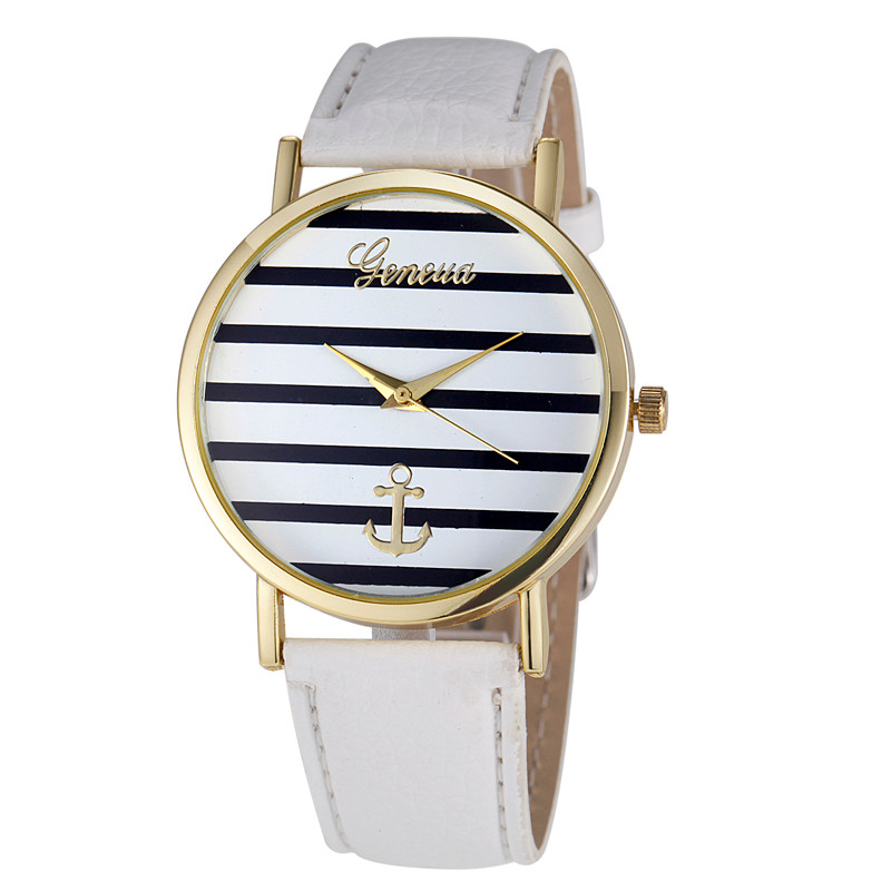 2016 Luxury Brand Women Geneva Watch Fashion Casual Striped Anchor Analog Leather Quartz Wrist Watches Relogio Feminino Gift mance new fashion brand women s watches luxury geneva faux leather analog quartz wrist watch relogio feminino quality gift