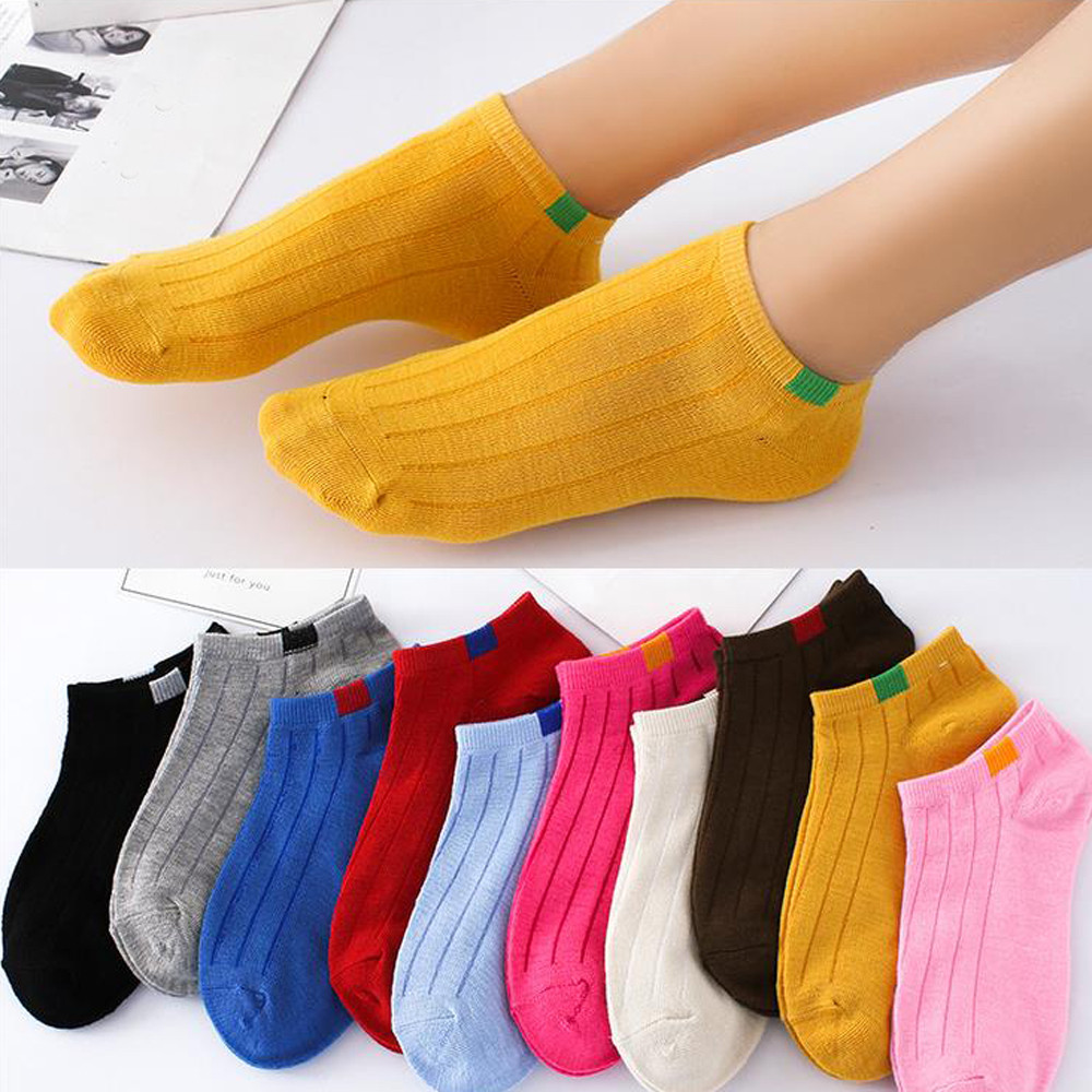 1Pair Unisex Comfortable Stripe Cotton   Socks   Woman Slippers Short Ankle   Socks   in Ten Colour High Quality New Fashion 2018