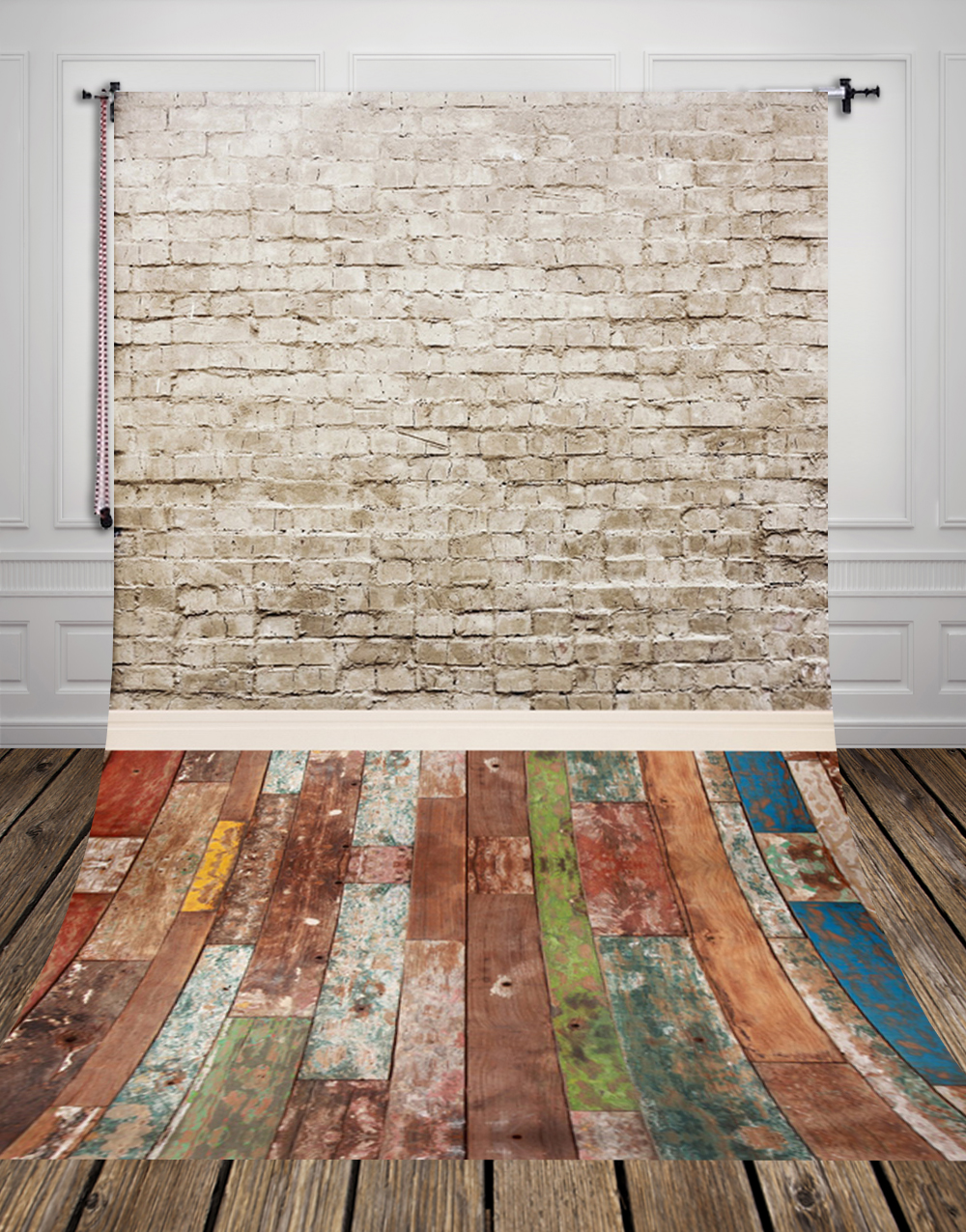 5x10ft(1.5x3m) White brick wall and color wood floor photo studio background backdrop made of  Art fabric for photography D-9694 10ft 20ft romantic wedding backdrop f 894 fabric background idea wood floor digital photography backdrop for picture taking