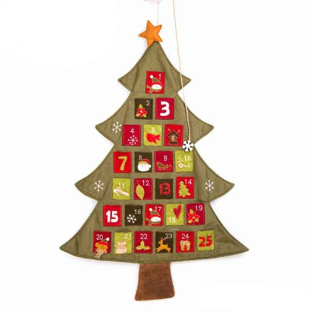 NEW 2018 Santa Claus Father Christmas Advent Calendar Countdown Count downDecor Fabric Pockets WHOLESALE