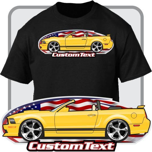 Print Men T Shirt Summer Custom Art Tee 2005-09 Mustang Convertible Cobra GT Not Affiliated with American Classic Car Fans Tee