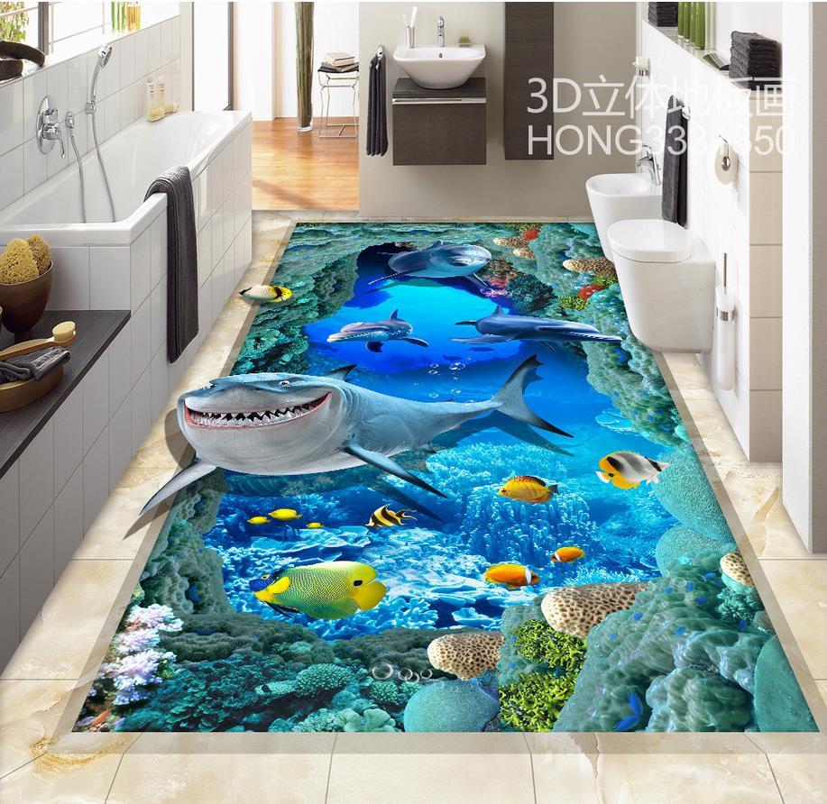 3d floor painting wallpaper sea world shark dolphin floor - Waterproof floor paint for bathrooms ...