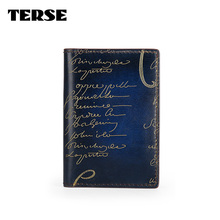 TERSE_5 MOQ Italian calfskin genuine leather card wallet luxury golden engraving credit card holder in 3 colors mens womens bag
