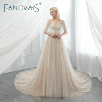 Tulle Wedding Dresses Beads BOHO Wedding Dress with Cape Champagne Bridal Gowns Vestido De Novia Robe De Mariage