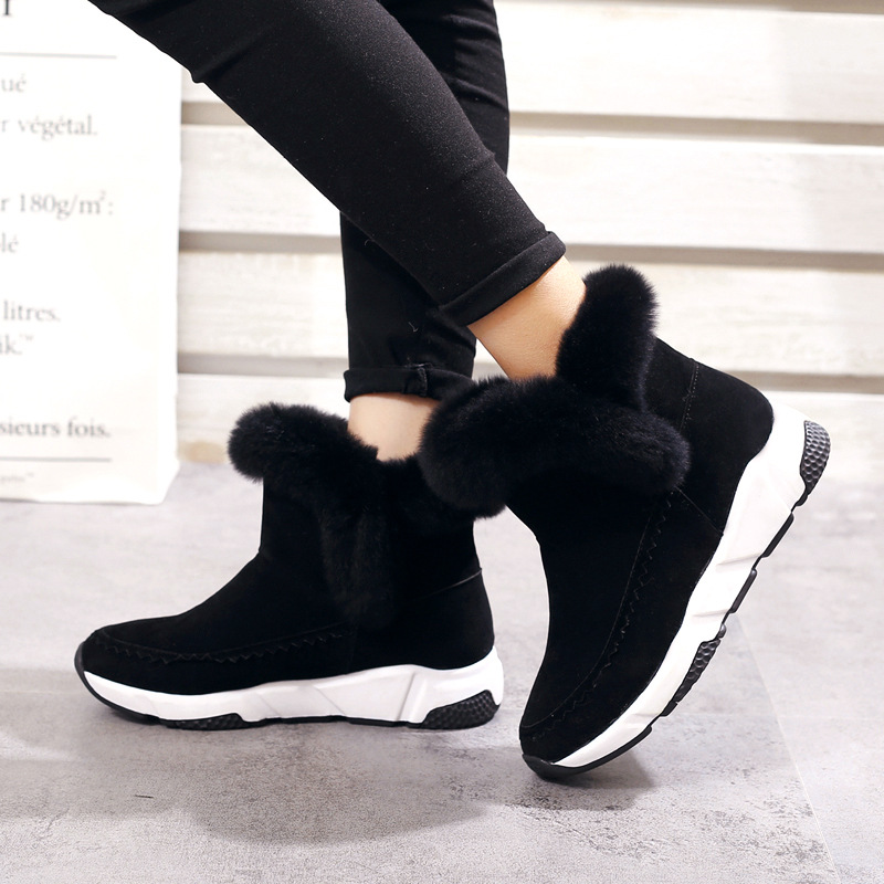 New Woman Shoes Faux Fur Snow Boots 2018 Women Autumn Winter Slip on Ankle Booties Plush Warm Outdoor Non slip Fashion Sneakers in Ankle Boots from Shoes