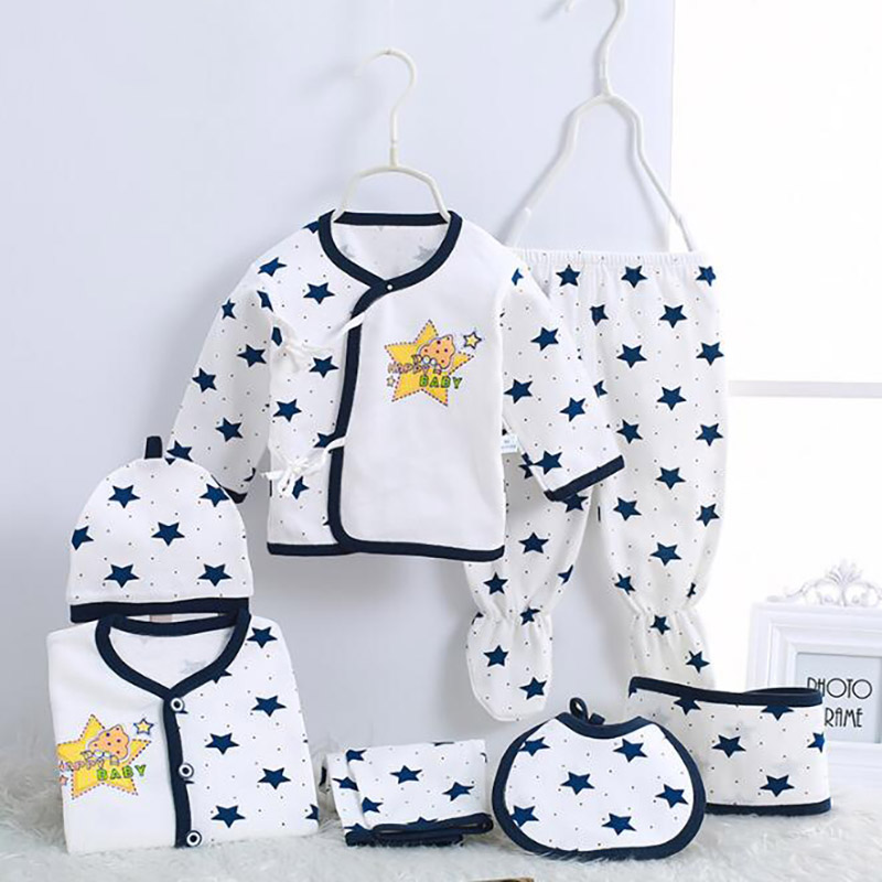 Newborn Boy Clothes Cotton Infant Clothing Cartoon Printing Baby Set Spring Autumn 0-3 Months Girls Boys Suits 7pcs/set CJM022